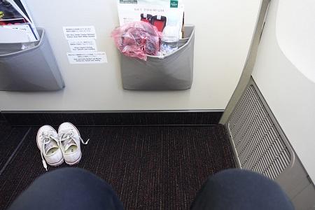 JALの前が壁になっている座席