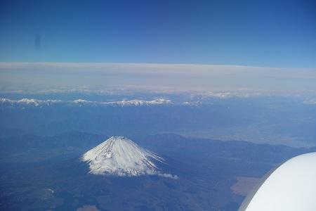 機内からみる富士山