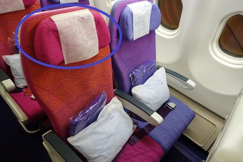 タイ航空エコノミーのヘッドレスト