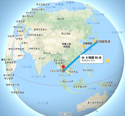 羽田からバンコクの地図