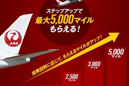 JAL国内線に1回乗ればマイルが貰えるキャンペーン開始。対象者限定で12月から3月まで。