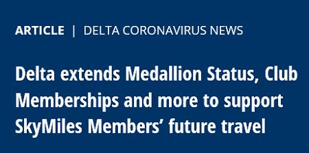 デルタ航空、新型コロナ特別対応でステータスを1年延長へ。